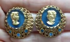 Vintage Blue Glass Cameo Earrings Gold Filigree Rhinestones West Germany Clips