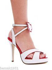"Nurse Costume Sandals White Red Trim 1/2"" Platform 4.5"" Heels 451-Florence 10M"