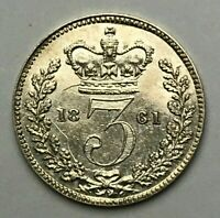 Dated : 1861 - Silver Coin - Threepence - 3d - Queen Victoria - Great Britain