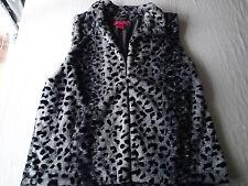 Betsey Johnso faux fur vest top,JACKET, SIZE xl leopard gray black ab