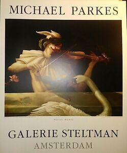 """MICHAEL PARKES WATER MUSIC, ORIGINAL VINTAGE 1987 GALERIE STELTMAN 26x32"""" MINT"""