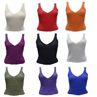 LADIES WOMENS SUMMER SEXY KNITTED CROCHET CROP TOP JUMPER BRA DEEP V NECK 8-14