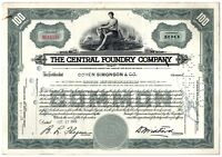 The Central Foundry Company Stock Certificate 100 Shares