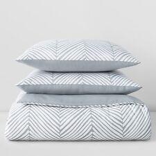Sky Chevron Twin Comforter and Sham Set White / Grey A010