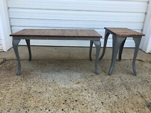 Vintage Coffee Table Side Table Set One of a Kind Reclaimed Cast Iron Maple