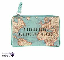 Sass & Belle Vintage Map World Globe Atlas Zip Coin Purse Travel Gift Christmas