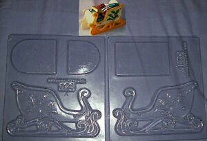 LARGE 3 DIMENSIONAL CHRISTMAS SLEIGH CHOCOLATE MOULDS - 2 piece set