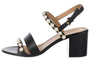 $328 TORY BURCH EMMY Black Pearl Sz 8 Sandals Shoes