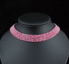 Soft 5-Row Hot Pink Austrian Rhinestone Crystal Choker Necklace Bridal Prom N927