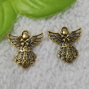 Free Ship 152 pcs Antique gold plated angel charms 26X24mm