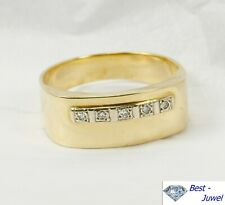 Großer Herrenring, Gelbgold 585 mit fünf  echten Diamanten