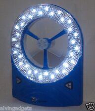 Portable Rechargeable Multi Purpose Fan Light Emergency 32 LED Lamp(Blue)