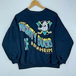 1993 Mighty Ducks Of Anaheim Disney Vintage Crewneck Sweatshirt Medium Black NHL