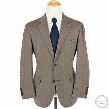 Brunello Cucinelli Brown 85% Cashmere Herringbone Unstructured 3/2 Jacket 46S