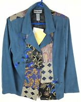 Indigo Moon Womens Jacket Blazer Collared Floral Embroidered Green Size 12 NWT