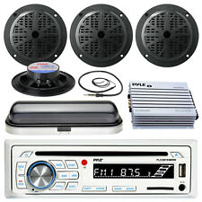 "Pyle Usb Sd Bluetooth Boat Radio, 400W Amp, Cover, Antenna, 5.25""Marine Speakers"