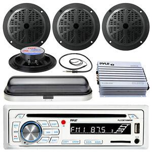 "Pyle USB SD Bluetooth Boat Radio, 400W Amp, Cover, Antenna, 5.25""Marine Speakers"