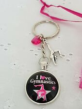 I LOVE GYMNASTICS KEYRING BAG CHARM WITH HEART AND GYMNAST IN ORGANZA GIFT BAG