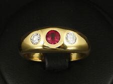 Rubin Brillant Bandring ca. 0,80ct mit großer Ringweite 58  11g 750/- Gelbgold