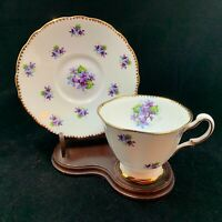 2 Pc Royal Stafford Bone China Sweet Violets pattern dainty teacup & saucer