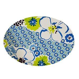 "Pier 1 Imports Melamine Oval Serving Platter Floral Blue White Green 16"" x 11"""
