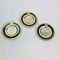 "Vintage The Art Of Chokin 24 KT Gold Edged 4"" Round Japanese Plates Lot Of 3"