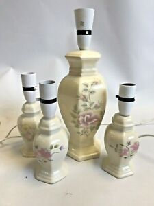 Vintage Floral Lamp Set Ceramic Oriental Cream Working House Lighting    W9