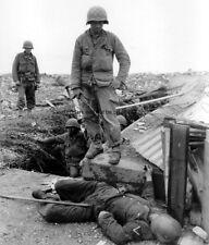 """US Soldier with Fallen Wehrmacht Soldier D-Day 8""""x 10"""" World War II WW2 Photo 1"""
