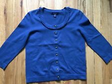 Women's blue Lands' End stretch cotton cardigan sweater size PXS