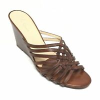 Women's Cole Haan D30623 Wedge Slide Sandals Shoes Size 9B Brown Leather Y8