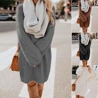 Womens Casual Long Sleeve Sweater Warm Winter Pullover Jumper Loose Warm Dress
