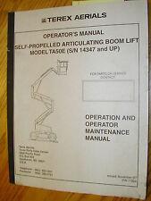Terex TA50E OPERATION MAINTENANCE MANUAL BOOM LIFT PLATFORM OPERATOR GUIDE 17324