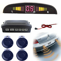 Dark Blue 4 Parking Sensors LED Display Car Reverse Backup Kit System