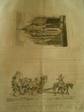 Litho 1838 Bouffons de la cour dans un chariot trainé par des Anes