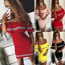 Women's Off Shoulder Short Sleeve Mini Dress Bodycon Ruffle Striped Summer Party