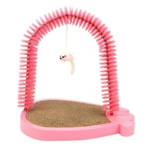 Cat Kitten Self Grooming Arch Massager Comb Brush & Scratcher Toy Pink