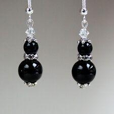Black pearls crystal vintage silver drop dangle earrings wedding bridesmaid gift