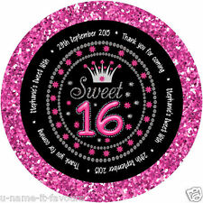 Personalised Sweet 16th Birthday Gloss Round Sticker Labels - 65mm -12 Per Page