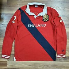 New listing VINTAGE Nike England #2 Rugby Embroidered Rose Polo Long Sleeve Shirt LARGE