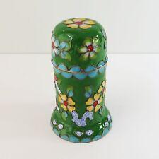 Vintage Cloisonne Green Floral Enamel on Metal Snuff Toothpick Holder Pillar Box