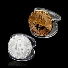 2X/Set Bitcoin Coin Münze Miner Medaille Gold&Silber Sammlermünze Geschenk BTC