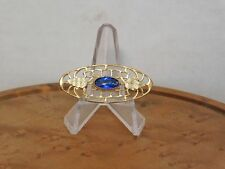 Antique Edwardian Style Filigree Pin With Cabochon Face Faceted Back Blue Stone