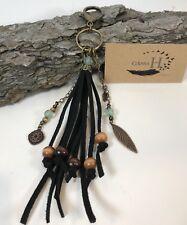Large Black Suede Leather Tassel Purse Charm Keychain Fob Wood Sea glass Beads