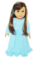 "Doll Clothes 18"" Nightgown Blue Stars White Fits American Girl Dolls"