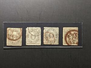 1876 Japan Sc 55 5r slate four postaly cancels
