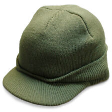 US-Army Jeep Cap Acrylic Military Peak Beanie Watch Hat Olive Green One Size