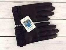 Portolano Womens Gloves Black Napa Leather Ruffled Cuffs 2BF11328 Sz 6.5 Nwt