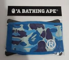 Bape A Bathing Ape Blue Camo Face Mask Cotton Face Cover New In Package