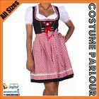 Womens Authentic German Dirndl Oktoberfest Fancy Dress Ladies Costume All Sizes