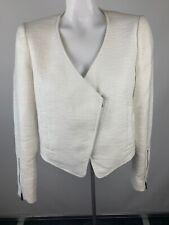 Tibi Womens Sz 6 White Tweed Asymmetrical Zip Moto Jacket Zip Cuffs Cotton